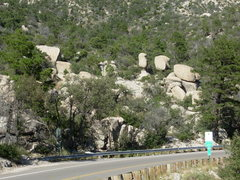 Rock Climbing Photo: Peanut Boulders from the parking pullout. The appr...