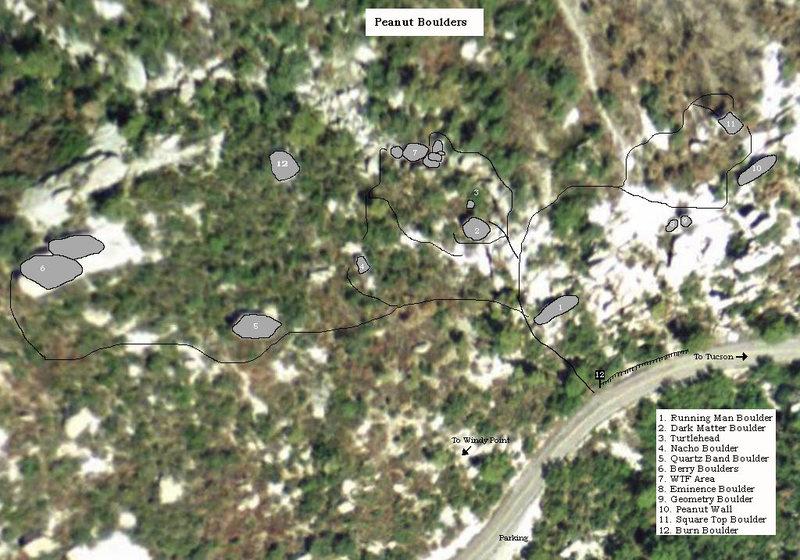 Rock Climbing Photo: Overhead map of Peanut Boulders area. 1. Running M...