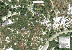 Rock Climbing Photo: Overhead map of Peanut Boulders area. 1. Running M...