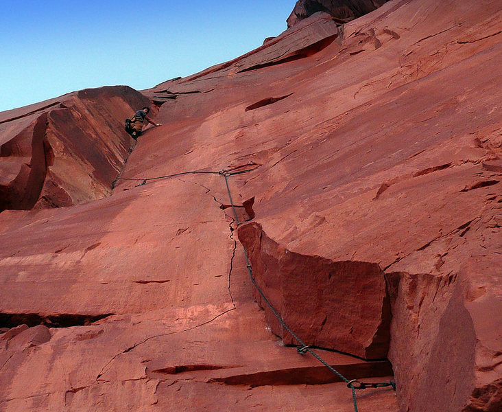 Rock Climbing Photo: P1 of Coyote Calling. David is near the crux, whic...