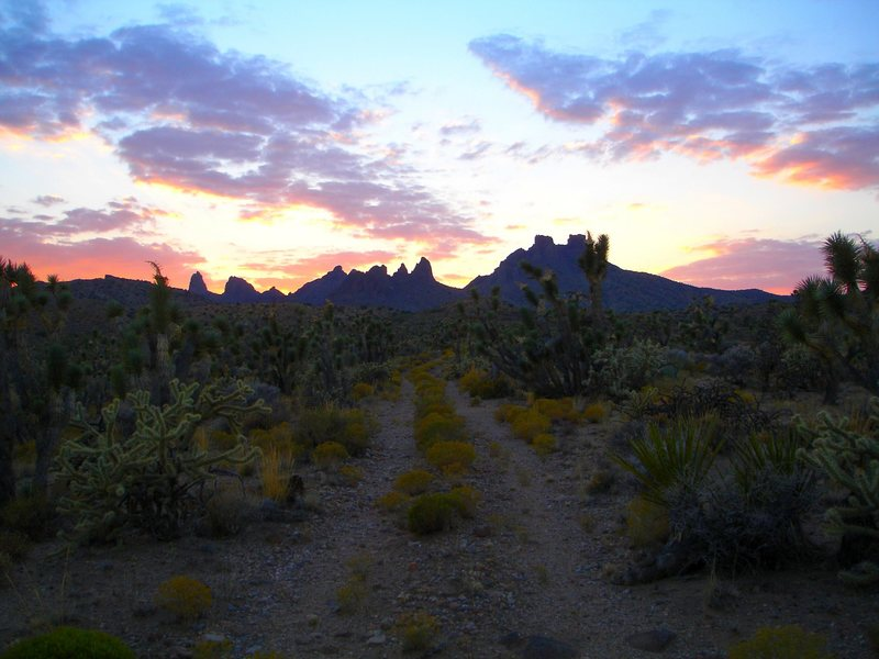 The majestic Castle Peaks, and another lonely winding road....<br> <br> In the Mojave National preserve near Malpais Spring. Malpais translates to bad country? I've seen nothing but beauty in the MNP. It's all good.<br> <br> Taken 10/01/08.