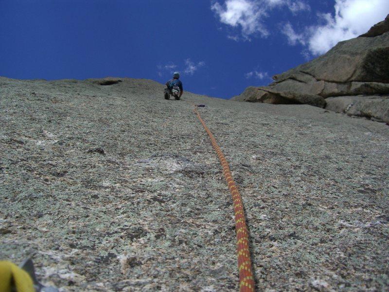 Rock Climbing Photo: Enjoying the runout slab on P2.