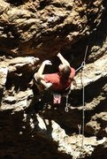 """Rock Climbing Photo: Jeff on the FA of """"No Crack for Old Men"""""""