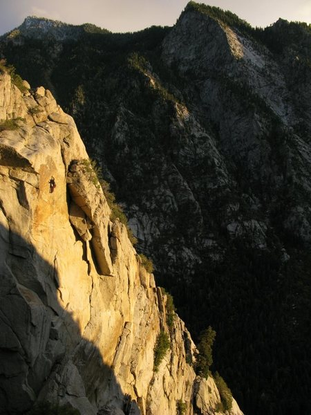 Lance Bateman on a roped solo ascent of Golden Showers.