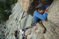 Rock Climbing Photo: Joshua winging up the slot.