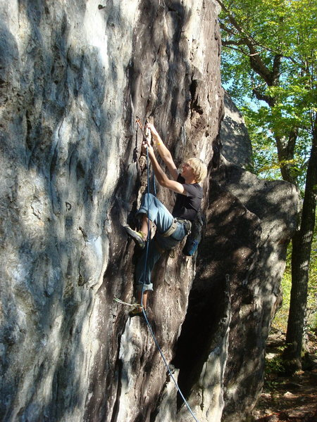 Rock Climbing Photo: A hold broke just above the second bolt, now its a...
