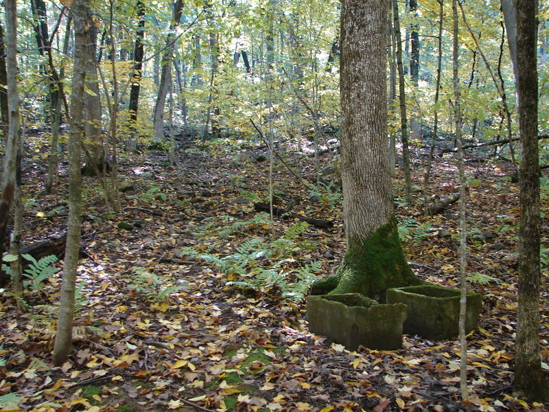 Marker in the woods from the concrete slabs.  The trail goes up left in the picture.  Just keep your eyes on the trail and it will lead you to the boulders.  Good luck