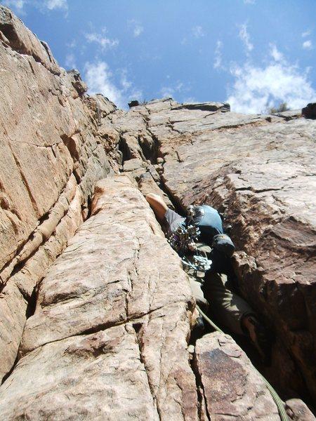 Rock Climbing Photo: Phil Wortman Leading the crux pitch.