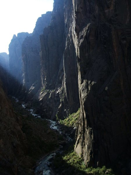 This is a beautiful place to climb!  Looking up canyon from midway up the route.