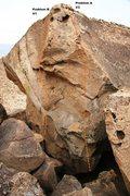 Rock Climbing Photo: Big Arete Boulder North West Arete Topo