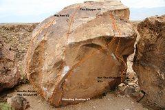 Rock Climbing Photo: Clapper Boulder West Face Topo