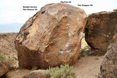 Rock Climbing Photo: Clapper Boulder North West Arete Topo