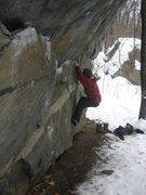 Rock Climbing Photo: Winter Traverse of Umbrella Boulder