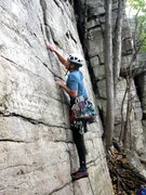 Rock Climbing Photo: Opening moves on Laurel (5.7).(G. Blauer photo)