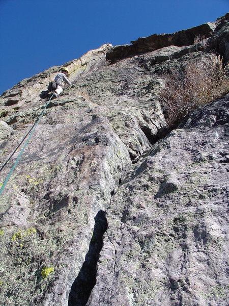 Scott below the roof on p2 of Juniper Overhang (Nov. 26, 2006).