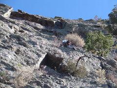 Rock Climbing Photo: Scott climbing just above the rectangular cutout o...