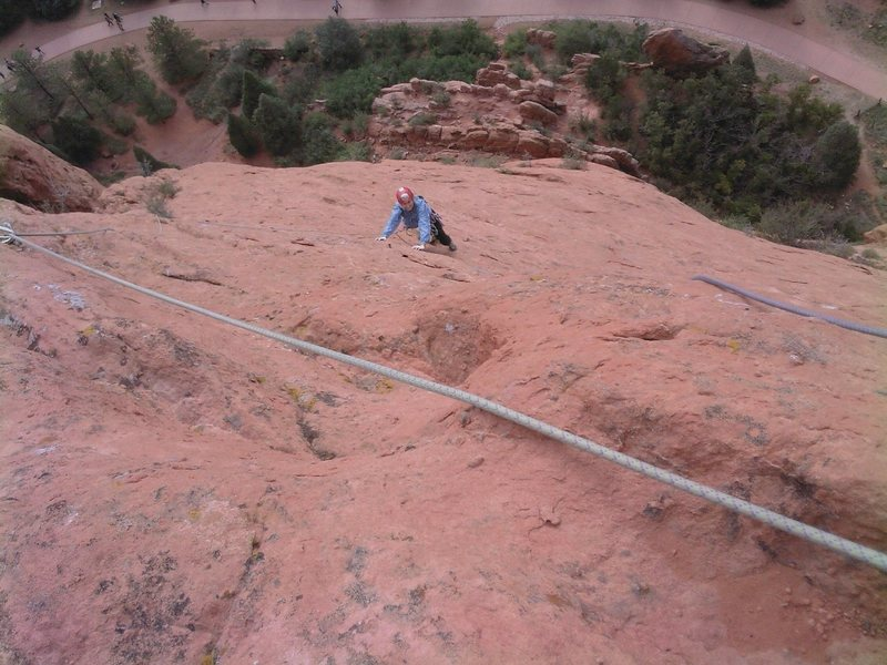 Rock Climbing Photo: Nearing the top of pitch two.  This pitch is quite...