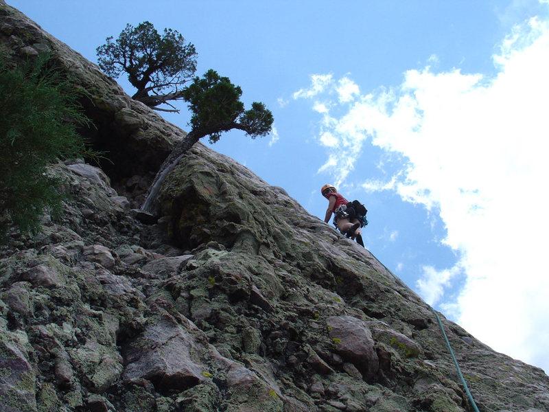 Rock Climbing Photo: Amy leading p2 of Techo al Derecho (July 16, 2005)...