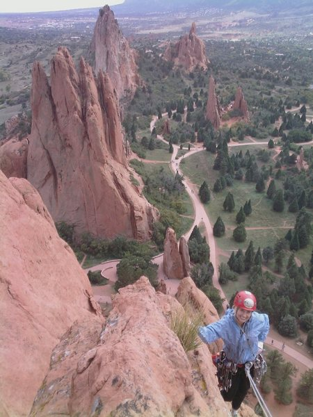 Rock Climbing Photo: Pennie Schwalm topping out.