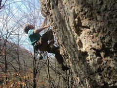 Rock Climbing Photo: Pullin' down hard on the big jugs of Deer Crossing...