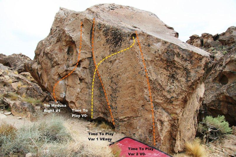 Corner Boulder North East Face Topo