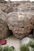Rock Climbing Photo: Sunburst Boulder East Face Topo