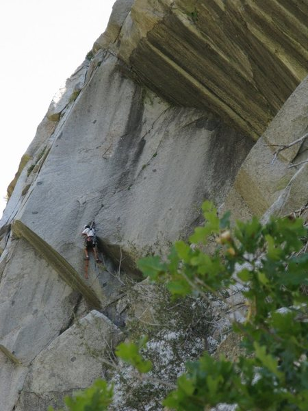Unknown climber on a recent ascent of The Direct North Face of Coalpit Buttress.  Photo is from over on Stifflers Mom.