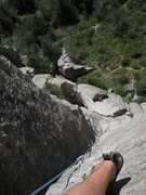 Rock Climbing Photo: John looking down the Batwings dihedral.  Excellen...