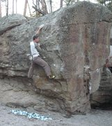 Rock Climbing Photo: Clinging to the slopers on The Donkey Punch.
