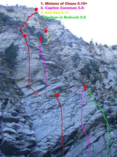 Rock Climbing Photo: Topo for Minions Crag