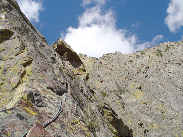 Rock Climbing Photo: Start of Cat Burglar pitch (P7).