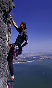Rock Climbing Photo: Wang Zhiming high above Kunming on the Western Hil...