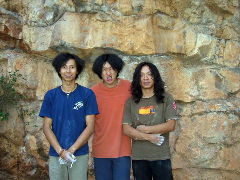 Iraq war hair protest. Wang Zhiming, Wang Bin, and (the late) Liu Xinan.