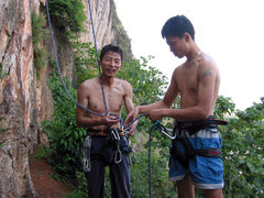 Rock Climbing Photo: Loa Xiang on the ground after sucess on a hard one...