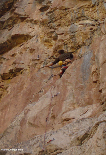 Nearing the upper crux section.