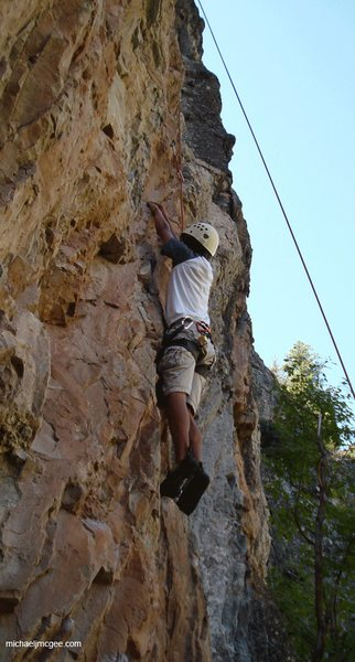 Nearing the mid-section crux.