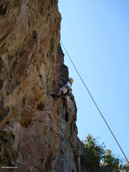 Rock Climbing Photo: 14 y.o. Andre in mid-crux form.