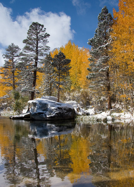 Rock Climbing Photo: Snow and fall colors in the Lake Sabrina Basin.