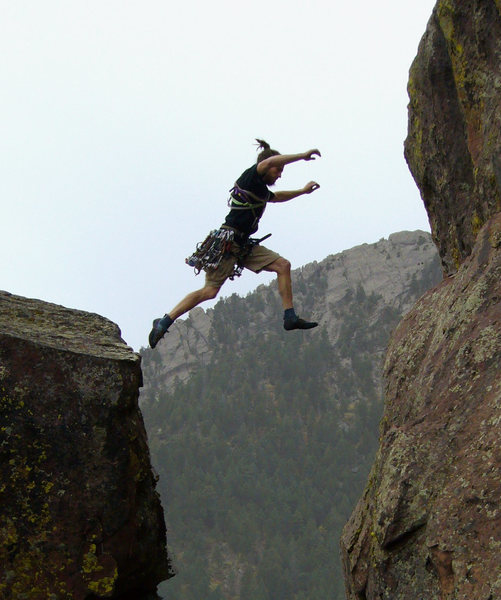 Rock Climbing Photo: Most of the way up Satan's Slab, you find a house-...