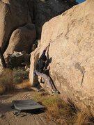 Rock Climbing Photo: Cranking the reachy start on Ultraviolet (V2), Jos...