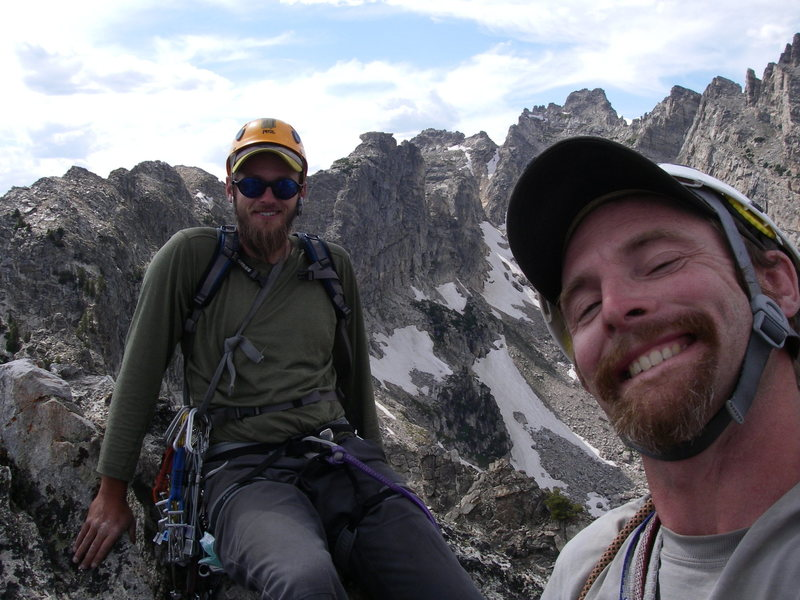 Me, right, and buddy Mark on top of Symmetry Spire, GTNP, Wyoming.