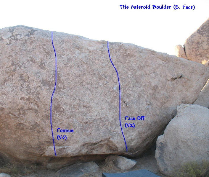 Footsie (V3) and Face Off (V2) on the Asteroid Boulder, JTNP.