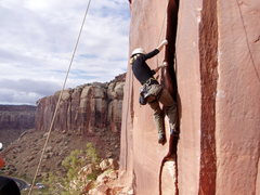 Rock Climbing Photo: Jenny climbs the wide start.  Photo by J P Boyd.