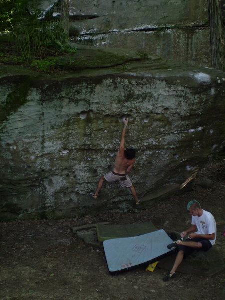 Rock Climbing Photo: Jackson Falls Reefer Madness boulder