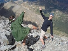 Rock Climbing Photo: Unsafe things to do on top of mountains.... Pic by...