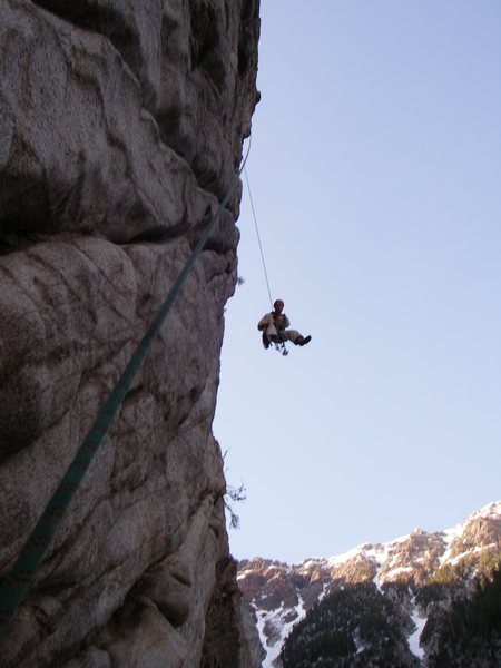 Rock Climbing Photo: How steep? About this steep. Butter's pitch on Min...