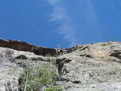 Rock Climbing Photo: Amy leading in the gully on P2 of Juniper Direct w...