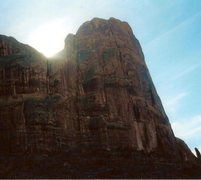 Rock Climbing Photo: The route goes up the crack system right of the su...