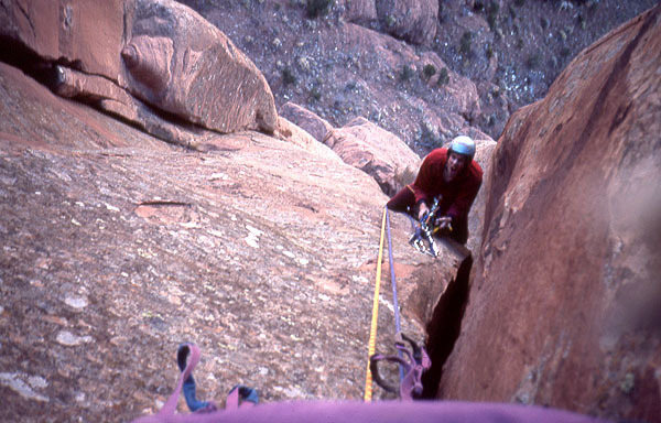 Rock Climbing Photo: Dave Evans belays on one of the wide pitches.  Pho...