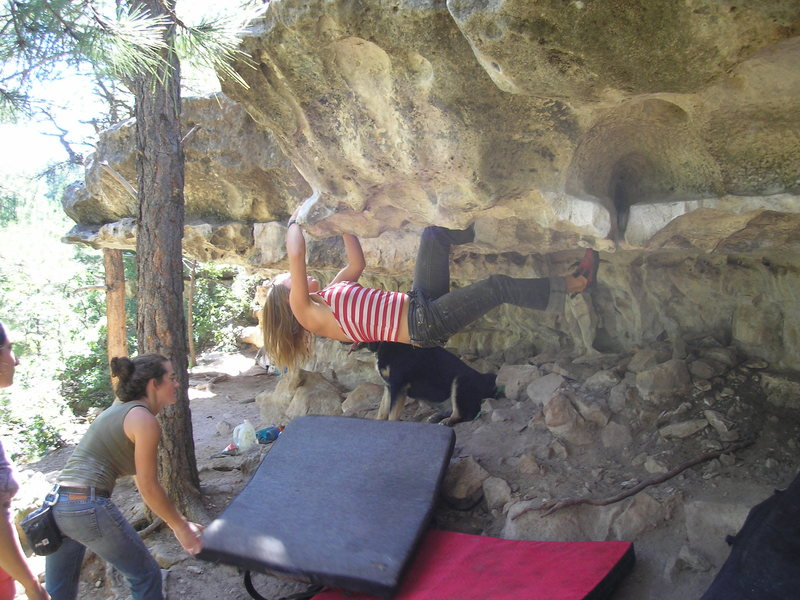 Roof bouldering at the Priest Draw